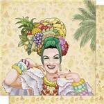 Papel Scrapbook Litoarte Sd-659 Dupla Face 30,5x30,5cm Carmem Mirando com Flores