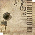 Papel Scrapbook Litoarte Sd-666 Dupla Face 30,5x30,5cm Gromofone e Notas Musicais