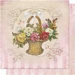 Papel Scrapbook Litoarte Sd-672 Dupla Face 30,5x30,5cm Cesta com Rosas