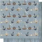 Papel Scrapbook Litoarte Sd-671 Dupla Face 30,5x30,5cm Navio Âncora e Madeira