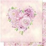 Papel Scrapbook Litoarte Sd-684 Dupla Face 30,5x30,5cm Coração de Rosas