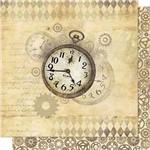 Papel Scrapbook Litoarte Sd-702 Dupla Face 30,5x30,5cm Relógios