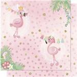 Papel Scrapbook Litoarte Sd-707 Dupla Face 30,5x30,5cm Flamingos, Bandeirolas e Poá