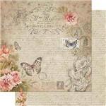 Papel Scrapbook Litoarte Sd-719 Dupla Face 30,5x30,5cm Vintage de Rosas Salmão com Borboletas