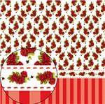 Papel Scrapbook Litocart 30,5x30,5 LSC-250 Rosas e Listras Vermelhas