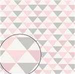 Papel Scrapbook Litocart 30,5x30,5 LSC-354 Triângulo Rosa e Cinza