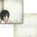 Papel Scrapbook Litocart 30,5x30,5 LSCD-105 Mulher e Arabesco Cinza