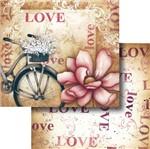 Papel Scrapbook Litocart 30,5x30,5 LSCD-317 Flor e Bicicleta