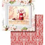 Papel Scrapbook Litocart 30,5x30,5 LSCD-433 Jarro com Flores e Arabesco