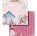 Papel Scrapbook Litocart 30,5x30,5 LSCD-402 Casa e Flores