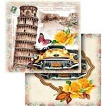 Papel Scrapbook Litocart 30,5x30,5 LSCD-437 Torre de Pisa Carro e Rosas