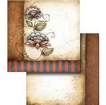 Papel Scrapbook Litocart 30,5x30,5 LSCD-252 Ramo de Flores Marrom e Vermelho