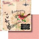 Papel Scrapbook Litocart 30,5x30,5 LSCD-387 Passarinho Cantando