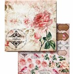 Papel Scrapbook Litocart 30,5x30,5 LSCD-394 Rosas e Tags