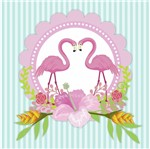Papel Scrapbook Litocart 30,5x30,5 LSCE-006 Guirlanda Flamingos