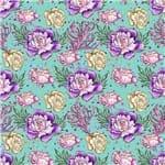 Papel Scrapbook Litocart 30,5x30,5 LSCE-044 Flores Fundo do Mar