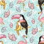 Papel Scrapbook Litocart 30,5x30,5 LSCE-046 Tucanos e Flamingos