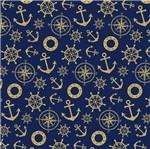 Papel Scrapbook Litocart 30,5x30,5 LSCE-035 Âncora e Timão Dourado