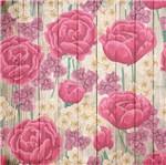 Papel Scrapbook Litocart 30,5x30,5 LSCE-052 Flores Rosa e Madeira