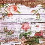 Papel Scrapbook Litocart 30,5x30,5 LSCE-054 Botões de Flores e Madeira
