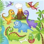 Papel Scrapbook Litocart 30,5x30,5 LSCE-027 Dinossauros Infantil