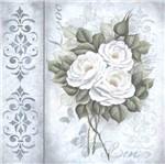 Papel Scrapbook Litocart 30,5x30,5 LSCE-039 Rosas Brancas