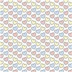 Papel Scrapbook Litocart Lsc-333 Simples 30,5x30,5cm Corações Rosas, Azuis e Amarelos