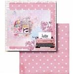 Papel Scrapbook Litocart Lscd-406 Dupla Face 30,5x30,5cm Máquina de Escrever e Poá Rosa