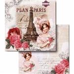 Papel Scrapbook Litocart Lscd-407 Dupla Face 30,5x30,5cm Paris Madame e Rosas