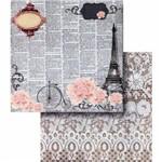 Papel Scrapbook Litocart Lscd-408 Dupla Face 30,5x30,5cm Escritas e Torre Eiffel