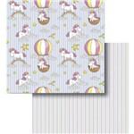 Papel Scrapbook Litocart Lscd-426 Dupla Face 30,5x30,5cm Unicórnio e Balão com Listras
