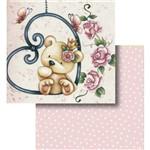 Papel Scrapbook Litocart Lscd-427 Dupla Face 30,5x30,5cm Urso e Flores