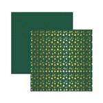 Papel Scrapbook Metalizada - SDF746 - Enfeites de Natal Dourado FD Verde - Toke e Crie