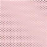 Papel Scrapbook Metalizada - SDF726 - Poá Prateado FD Rosa - Toke e Crie