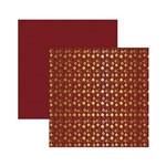 Papel Scrapbook Metalizado - SDF743 - Enfeites de Natal FD Vermelho - Toke e Crie