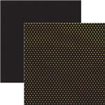 Papel Scrapbook Poá Dourado e Preto Sdf618 - Toke e Crie