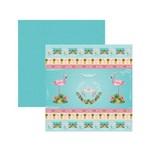 Papel Scrapbook - SDF749 Festa DF Flamingos Fitas e Rótulos