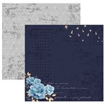 Papel Scrapbook Toke e Crie 30,5x30,5 SDF851 Aprecie a Jornada Rosas Azuis