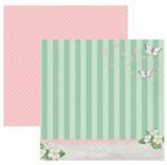 Papel Scrapbook Toke e Crie 30,5x30,5 SDF855 Verde e Rosa Listras