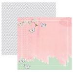 Papel Scrapbook Toke e Crie 30,5x30,5 SDF857 Verde e Rosa Pátina