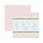 Papel Scrapbook Toke e Crie SDF838 30,5x30,5cm Unicórnio Fitas e Rótulos By Mariceli