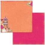 Papel Scrapbook WER268 30,5x30,5 Bo Bunny Flores e Gaiola
