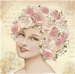 Papel Scrapdecor Litoarte Sdsxv-093 Simples 15x15cm Mulher Flores Rosas na Cabeça