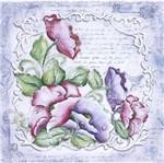 Papel ScrapDecor Litoarte SDSXV1-002 15x15cm Flores Moldura Branca By Lili Negrão