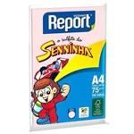 Papel Sulfite A4 75g 100 Folhas Senninha Rosa Report Suzano