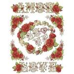 Papel Transfer Litoarte 21,8x28,4cm PTG-062 Rosa Vermelha Amor