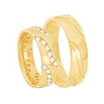 Par de Alianças em Ouro 18K Confort com Diamantes - AU6334 - 12