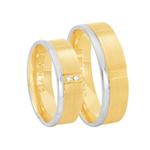 Par de Alianças em Ouro 18K Fosca e Diamantes - AU6331 - 12