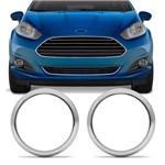 Par de Apliques Cromados Moldura Aro do Farol de Milha Ford New Fiesta 14 a 17 Encaixe Sob Medida