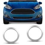 Par de Apliques Moldura Aro do Farol de Milha Ford New Fiesta 2014 a 2018 Cinza